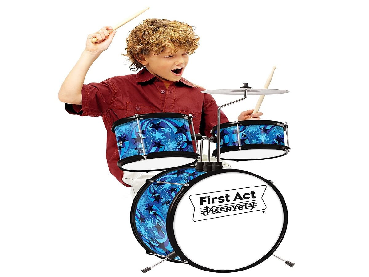 First Act Discovery Blue Swirls Stars Designer Drum Set Review